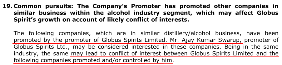 Globus Spirits Ltd DRHP Promoter Operating Competing Companies