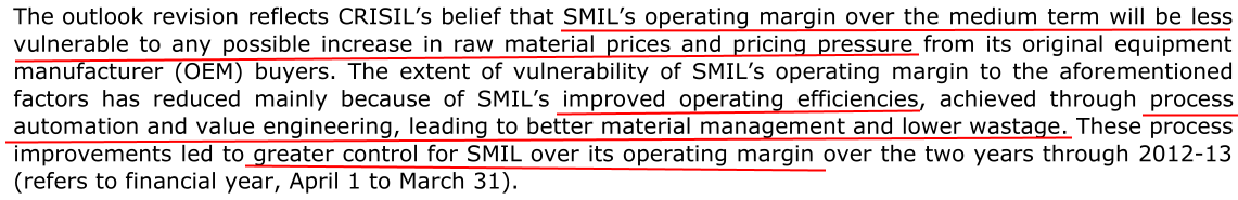 Sharda Motor Industries 2013 Crisil Lower Vulnerability To Raw Material Prices And Pricing Pressure From Customers