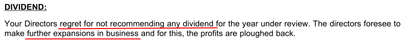 Sreeleathers Ltd FY2016 Reasons For No Dividend