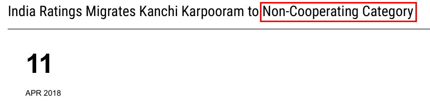 Kanchi Karpooram Ltd India Ratings 2018 Non Cooperation
