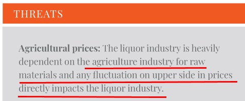 Associated Alcohol Breweries FY2018 Threat Of Increase In Agricultural Prices