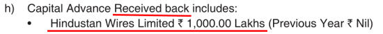 India Glycols Ltd 2018 Capital Received Back From Hindustan Wires Ltd