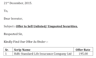 HDFC Standard Life Insurance Ltd Offer Letter