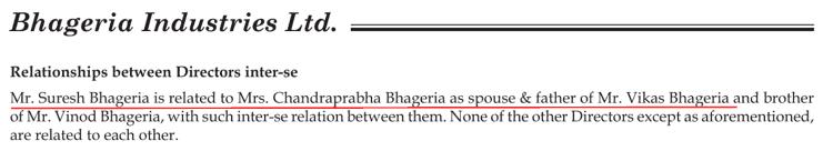 Bhageria Industries Ltd Relationship Of Directors