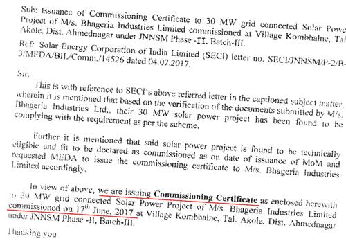 Bhageria Industries Ltd Solar Plant Commissioned
