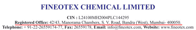 Fineotex Chemical Registered Address