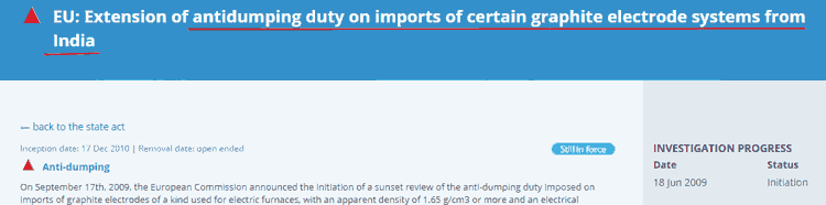 HEG EU 2010 Antidumping Duty On Graphite Electrode Imports From India