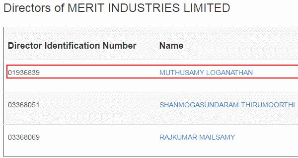 National Fittings Ltd Merit Industries Directors Loganathan
