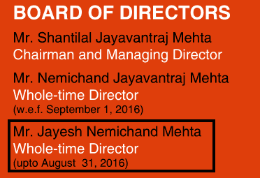 Navkar Corporation 2016 Jayesh Nemichand Mehta Director Only Upto August 31, 2016