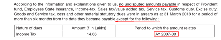 Nesco FY2018 Pending Income Tax Undisputed For FY2007