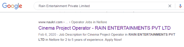 Rain Entertainment Private Ltd Job For Cinema Project Operator