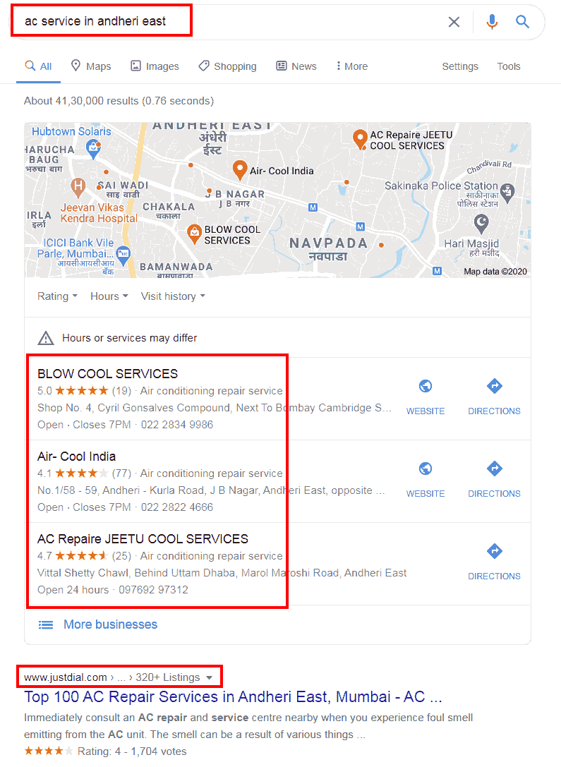 Google Results For AC Service Andheri East
